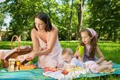 Picnic - mother with children in park — Stock Photo