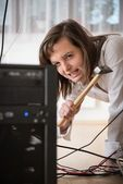 Computer troubles - angry business woman — Stock Photo