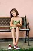 Vintage mood - sad child portrait — Stock Photo