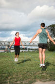 Workout with skipping rope — Stock Photo