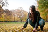 Young woman in fall season — Stock Photo
