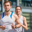 Competing - jogging in two — Stock Photo