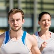 Stock Photo: Competing - jogging in two