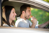 Eating in car — Foto de Stock