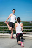 Warm up - couple exercising — Stok fotoğraf