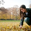 Young woman in fall season — Stock Photo
