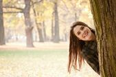 Look on me - autumn woman portrait — Stock Photo