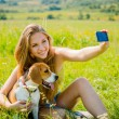 Dog and woman - happy life — Stock Photo