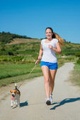 Jogging with animal friend — Stock Photo