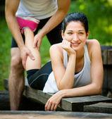 Massage after sport jogging — ストック写真
