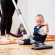 Cleaning home - mother and child — Stock Photo #40666195