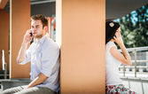 Close and distant - problems in relationship? — Stock Photo