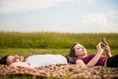 Couple relaxing outdoor — Stock Photo