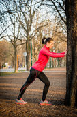 Warm-up before jogging — Stock Photo