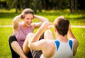 Couple training together — Foto de Stock