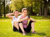 Couple training together — Stock Photo