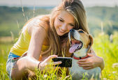 Dog and woman - happy memories — Stock Photo