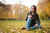 Happy autumn lifestyle portrait — Stock Photo