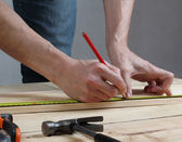 Carpenter Measuring  — Stock Photo