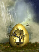 Fantasy egg with tree — Stock Photo