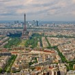 Paris city aerial view from Montparnasse tower. Eiffel tower — Stock Photo #13471480