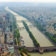 Paris city and seine river view from Eiffel tower — Stock Photo