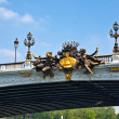 Sculptures at Alexander III bridge in Paris capital of France — Stock Photo