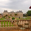 Park in Paris: Jardin du Luxembourg palace — Stock Photo