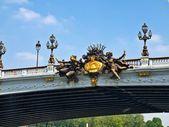 Sculptures at Alexander III bridge in Paris capital of France — Stock Photo