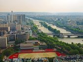 Paris city aerial view from Eiffel tower — Stock Photo