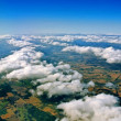 Aerial view of white clouds and  landscape on Denmark — Stock Photo