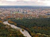 Hava vilnius şehir görünümünü televizyon kulesi — Stok fotoğraf