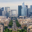 View of Paris from Arc de triumph, to the Defense district. — Stockfoto