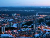 Vilnius city night aerial view — Stock Photo