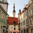 Stock Photo: Old city, Tallinn, Estonia. weather vane Old Thomas on Town hall tower