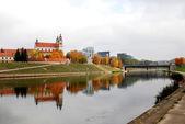 Vilnius archangel church on the board river Neris — Stock Photo