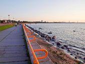 Silhouette of tallinn with fire sea sunset  — Stock Photo