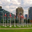 Vilnius city skyscrapers and European Union flags. — Stockfoto #42291689