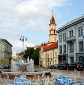 The Town Hall Square (Rotuses aikste) in Vilnius — Stock Photo