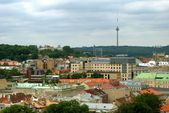Vilnius city red roofs and television tower on the hill.  — Stock Photo