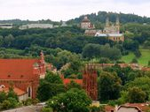 View to the Vilnius churchs from the Gediminas castle — Stok fotoğraf