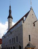 Old church silhouette at evening. Old town of Tallinn. — Stock Photo