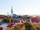 View to ancient old town and the tower of St Olaf's Church, Tallinn — Stock Photo