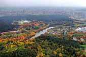 Vilnius city aerial view - Lithuanian capital bird eye view — Foto Stock
