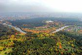 Vilnius city aerial view - Lithuanian capital bird eye view — Stock Photo