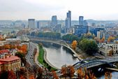 Vilnius autumn panorama from Gediminas castle  — Stock Photo