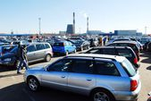 Market of second hand used cars in Kaunas city — Stock Photo