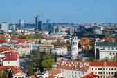Panoramic View of Vilnius City Old Town and Modern Buildings — Stock Photo