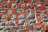 The red brick and stone wall. Backround — Stock Photo
