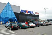 Maxima shop center in Vilnius city Ukmerges street — Stok fotoğraf